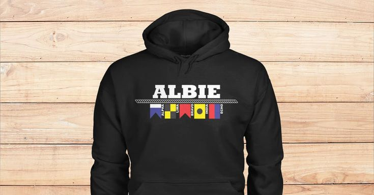 BLACK HOODIES FOR ALBIE. Are you Albie? Please checkout on Viralstyle!#names #namesalbiehoodies #albie #alphabetflagshoodies #nauticalflagshoodies