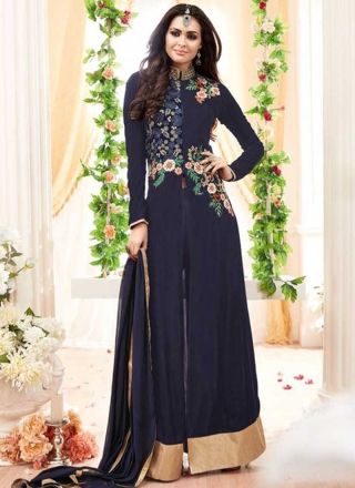 Navy Blue Embroidery Work Georgette Santoon Designer Long Anarkali Gown Suit http://www.angelnx.com/Salwar-Kameez/Anarkali-Suits