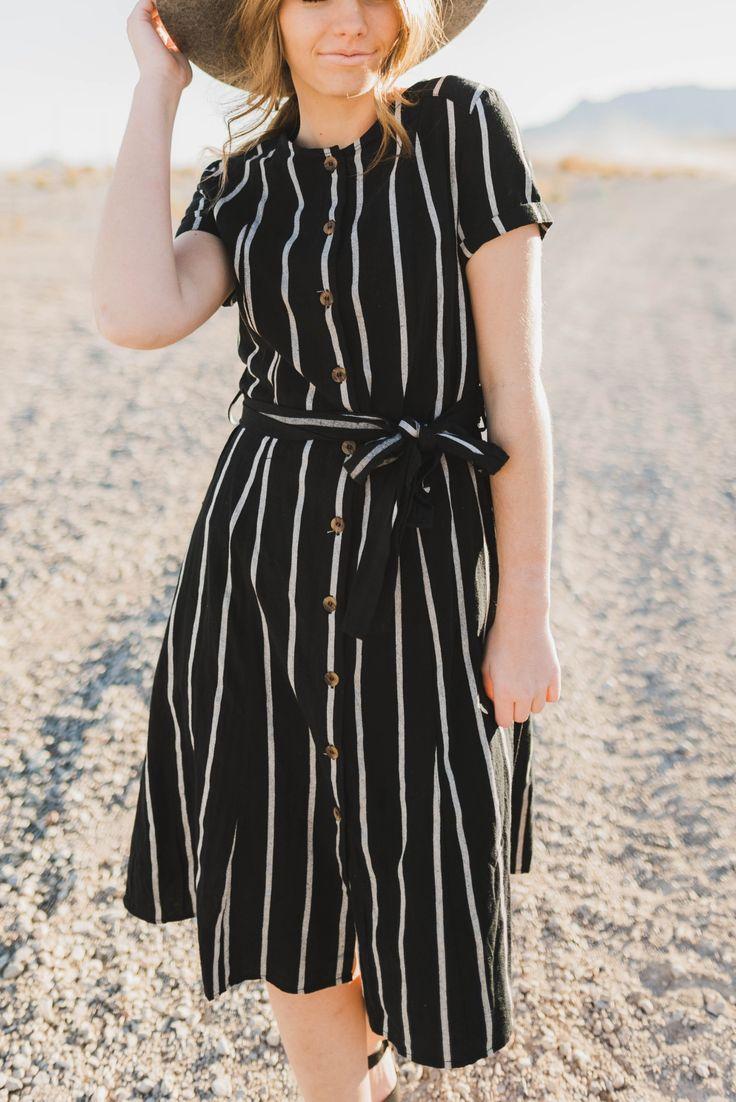 The Taylor striped midi dress in black