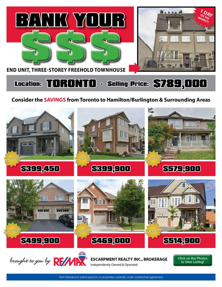 Do you enjoy saving money? Perhaps leaving the GTA and moving to the Hamilton/Burlington or a surrounding area is just the opportunity for you and your family! Check out some of our current listings to see the comparison and the money you could SAVE!!! If these homes are NOT within your price range, then check out www.whatchagetfor... to find homes within YOUR budget