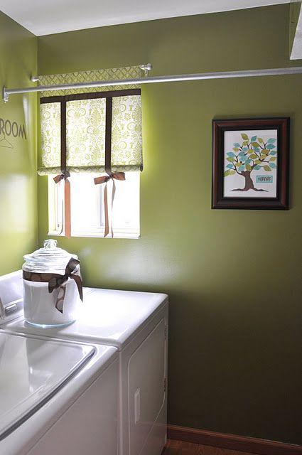 Laundry room tension rod inbetween walls