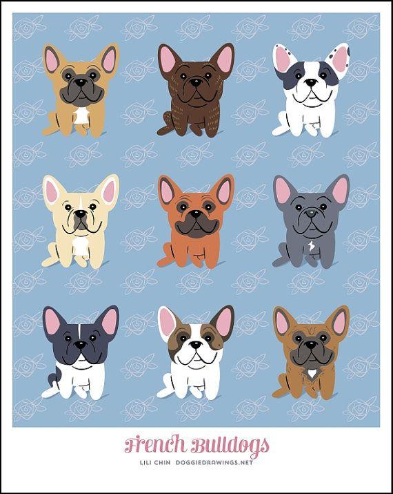 French Bulldogs, illustration, via Etsy.