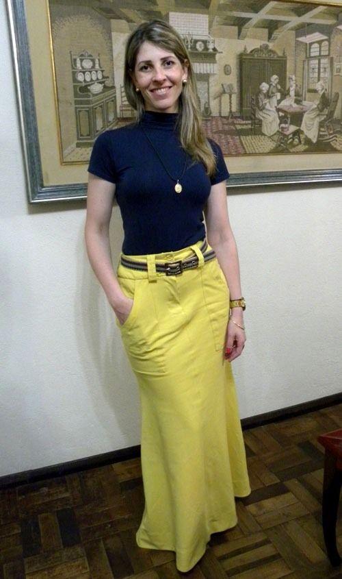 Saia longa de linho sereia amarela