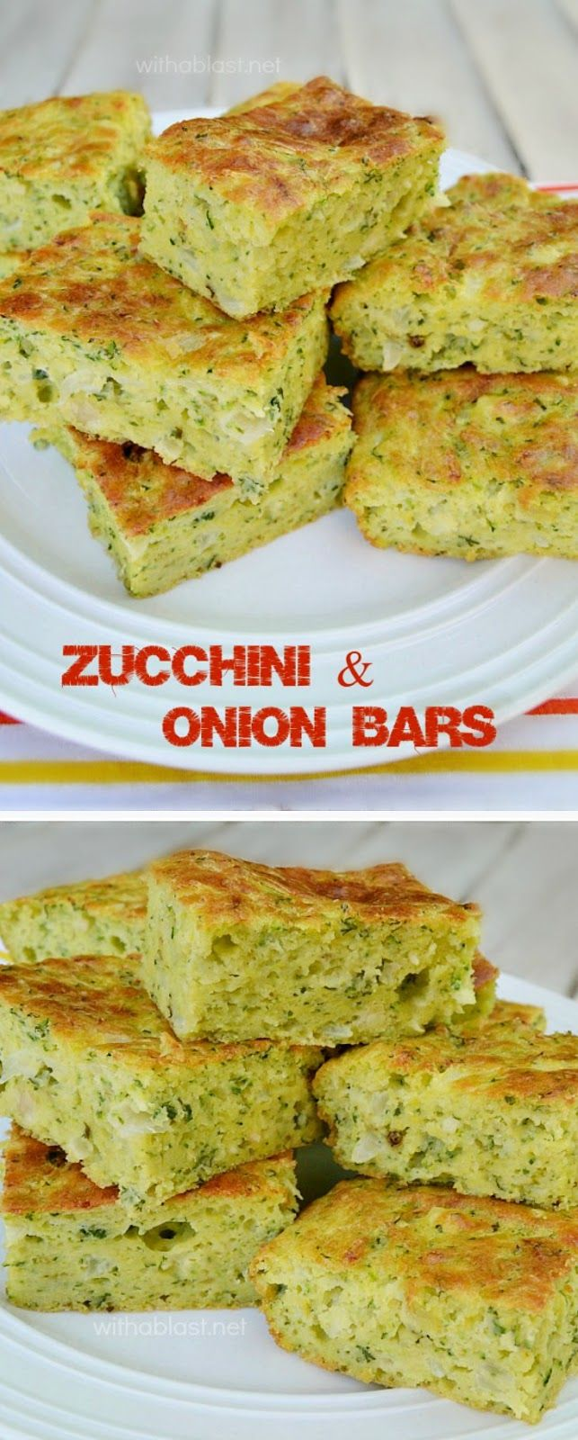 Easy, mix-n-bake recipe for Zucchini and Onion Bars ~ perfect for picnics, brunch, side dish or just a delicious quick savory snack {serve warm or cold}