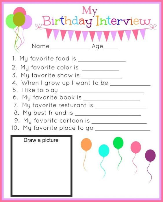 Birthday Interview Free Printable for kids. How fun is this birthday idea?!