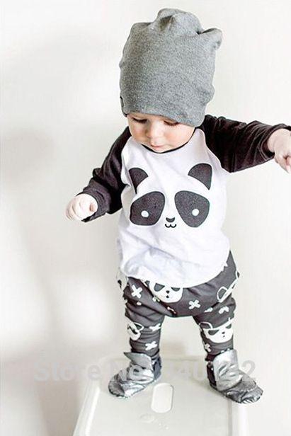 2016 vente Chaude bébé garçon vêtements ensemble unisexe panda de bande dessinée à manches longues T-shirt + pantalon 2 pcs infantile bébé fille vêtements ensemble