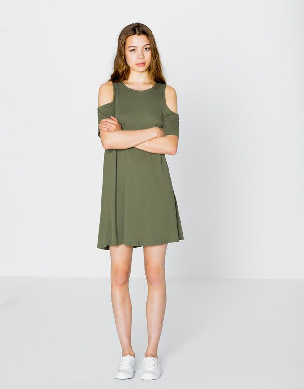 DRESS WITH SHOULDER OPENINGS - DRESSES - WOMAN - PULL&BEAR United Kingdom