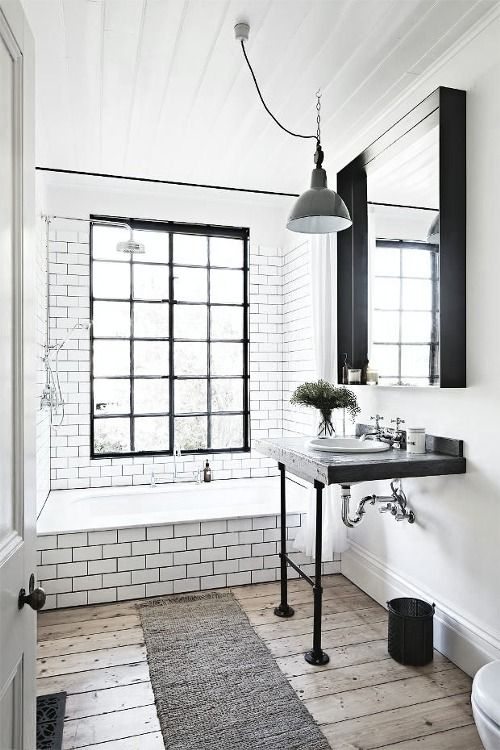 love the plank flooring and the contrast of black and white, industrial chic