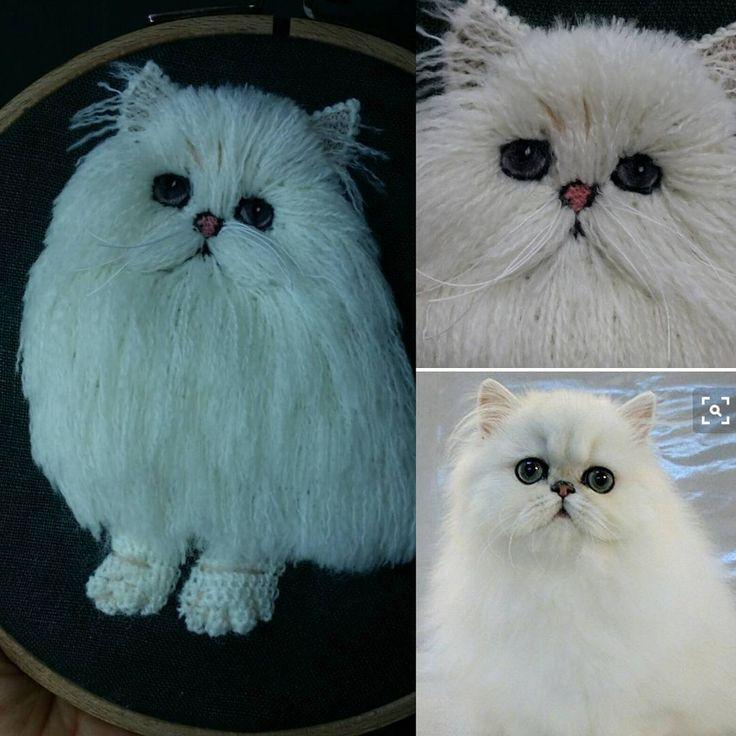 페르시안 고양이~  긴털을  표현하다보니... 세세한 디테일이 아쉽다. 근데 살짝 부엉이필이 느껴지는건 왜그럴까! ㅋ~~ 이런날도 있지 뭐!  #pet embroidery #cat embroidery  #펫자수 #입체자수 #동물자수 #다린크래프트 #반려동물자수 #고양이자수  사진출처 : 핀터레스트