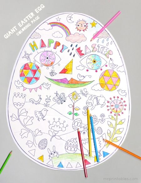 Giant easter egg coloring page (6 printable sheets)