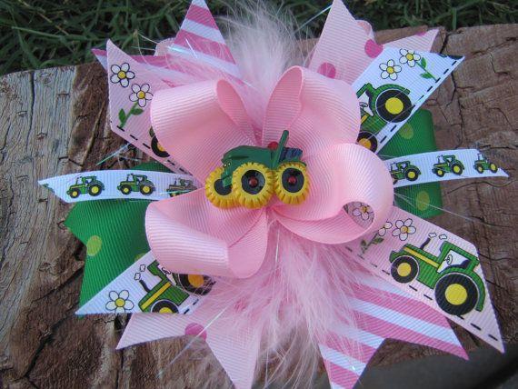 #VAL Girls Cute Tractor-John Deere Large Hair Bow by PoshBabyStore.com