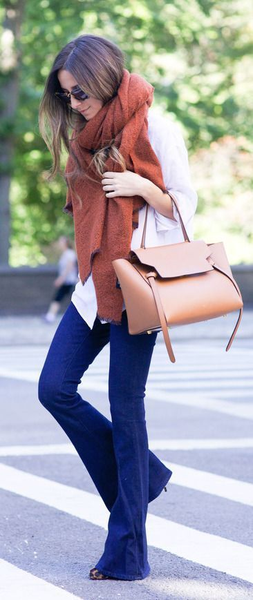flared jeans + the perfect fall scarf