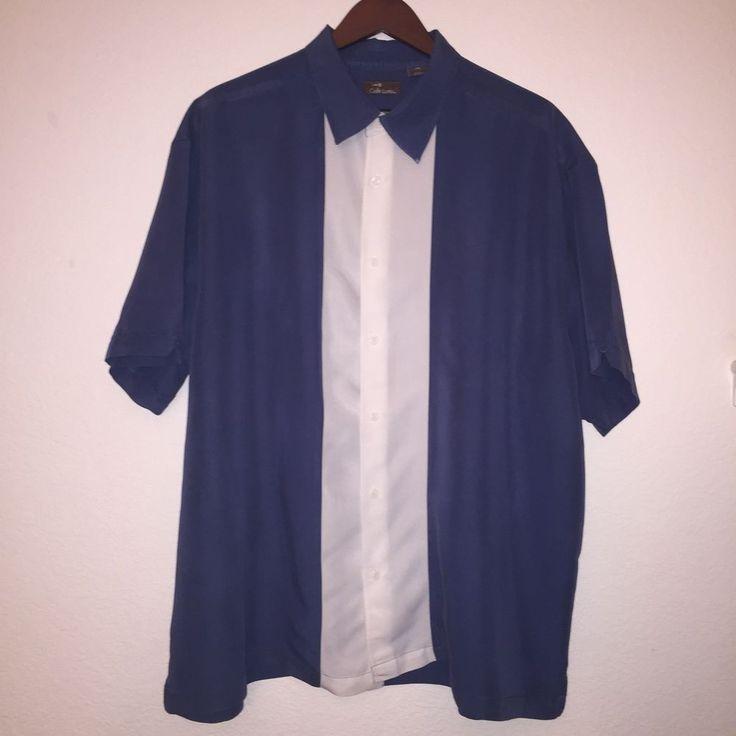 Cafe Luna Mens 2XL (50/52) Shirt Button Up Bowling Pool Cigar Rockabilly Blue #CafeLuna #ButtonFront