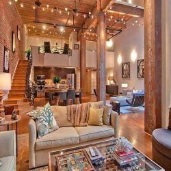 Exposed brick and wooden beams: Living Rooms, Favorite Places, Open Bricks Apartments, Dreams House, Loft Spaces, Exposed Brick, Expo Bricks, Bricks Loft Apartments, San Francisco