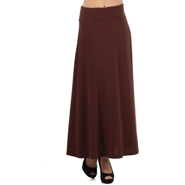 Avital Brown Maxi Skirt ($36) ❤ liked on Polyvore featuring skirts, brown, red skirt, maxi skirts, long brown skirt, red high waisted skirt and high waisted long skirts