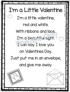 I'm a Little Valentine | printable | Valentine's Day | Poems for kids | poetry notebook | Winter holidays | poem of the week