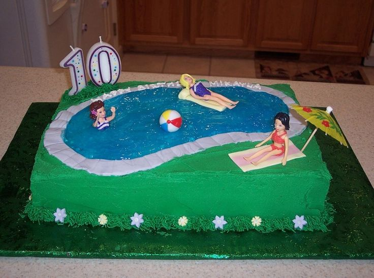 Swimming Pool Birthday Cake Here Is My Nieceu0027s Birthday Cake. The Polly  Pocket Dolls Were The Perfect Size To Use Since My Modeling.