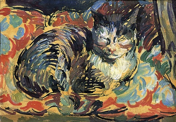 Duncan Grant, The Cat, Opussyquinusque, circa 1932, oil on board (Charleston Collection.)