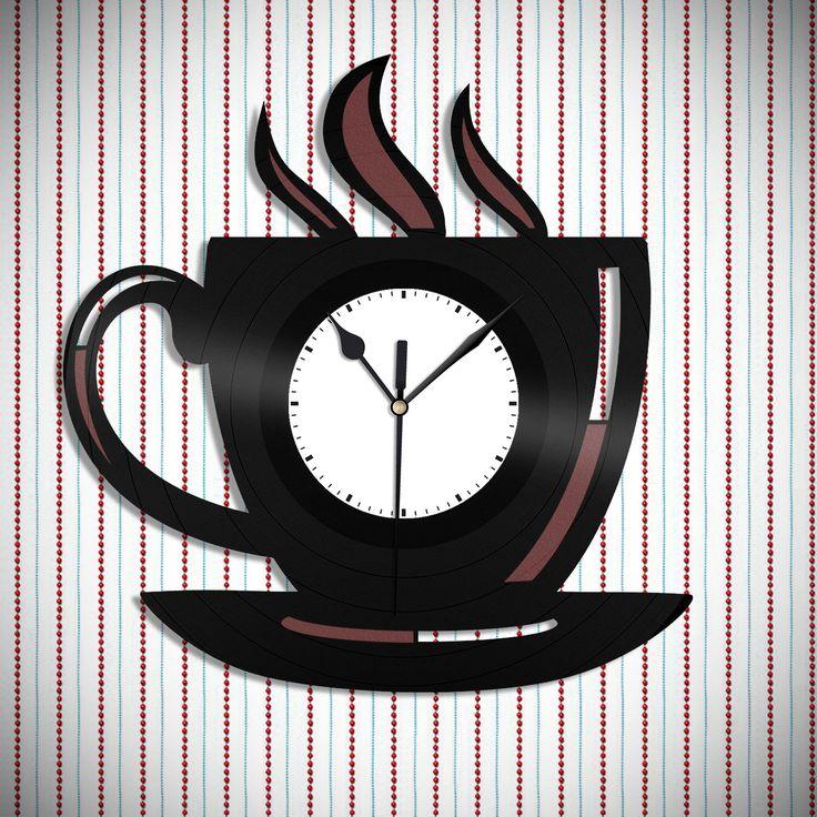 Coffee Sign - Kitchen Clock, Coffee Mug Sign Design, Kitchen Decor Idea, Perfect Gift for Mom, Coffee Cup Clock, Coffee Mug Clock by VinylShopUS on Etsy