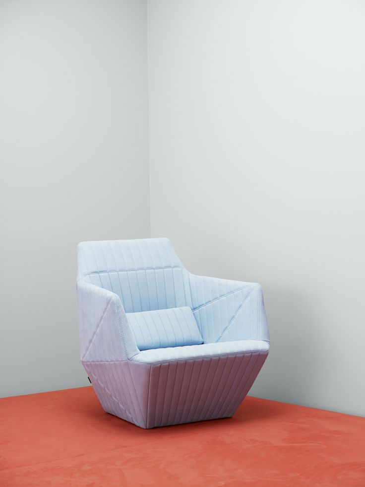 Ligne Roset Facett armchair in upholstery textile Waterborn, designed by Erwan and Ronan Bouroullec. Waterborn is a groundbreaking sustainable microfibre textile designed by Aggebo & Henriksen, which makes much less of an impact on the environment than conventionally produced microfibre fabrics.