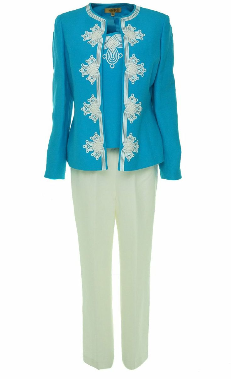 3 Piece Rose Garden Pant Suit For Women Over 50 -4222