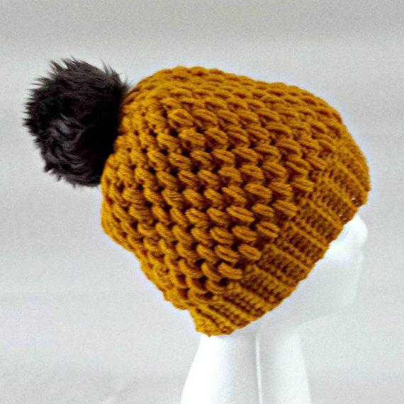 Mustard yellow bobble hat faux fur pom pom by KnittingbyKali