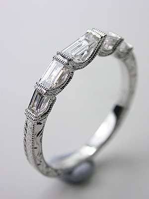 estata vintage white gold wedding bands whith baget dimonds | Wedding Band with Baguette Cut Diamonds, RG-1739wb