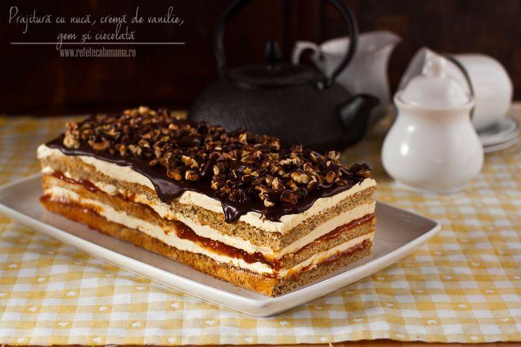 prajitura cu nuca, gem, crema de vanilie si ciocolata 1