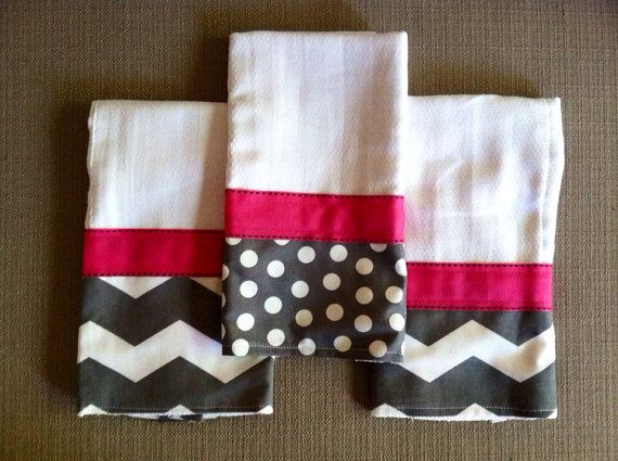 Baby Burp Cloths - Pink & Gray Set of 3 - Chevron Pattern on Etsy