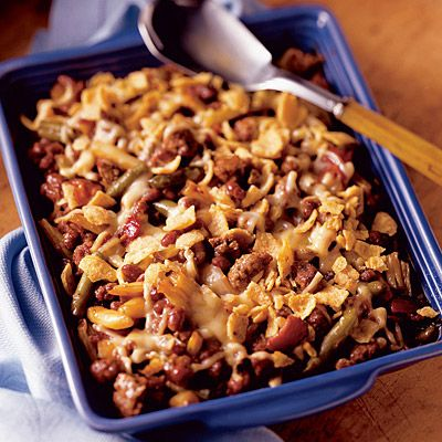 Barbecue Beef & Bean Casserole is topped with corn chips and cheese ...
