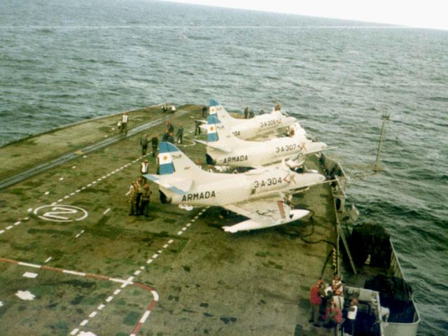 Some Douglas A4-Q Skyhawnk on the ARA 25 de Mayo carrier. Falklands War
