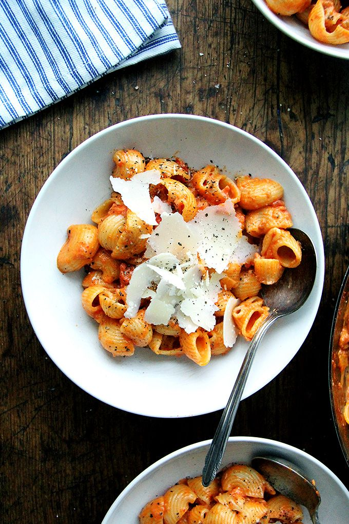 This pasta alla vodka is simple and, thanks to the inclusion of 'nduja, a spreadable salami made from pork and Calabrian chilies, is both spicy and smoky.