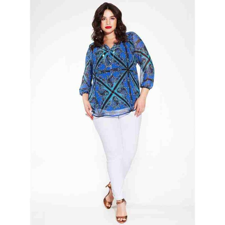 PRE-ORDER - Livia Plus Size Blouse in Indian Ocean $100.00 http://www.curvyclothing.com.au/index.php?route=product/product&path=95_96&product_id=8538