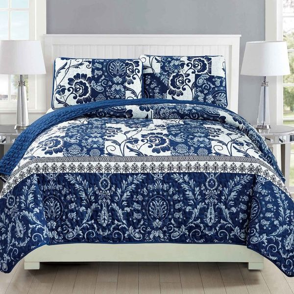 Mk Collection 3pc Bedspread Coverlet Quilted Floral White Navy Blue Over Size New 186 King California King Wish Navy Blue Quilt White Bedspreads Bed Spreads