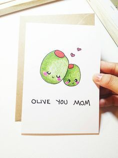 Funny mother's day card, cute mother's day card, birthday card mom, funny card for mom, mom birthday card, olive you mom, cute mom card