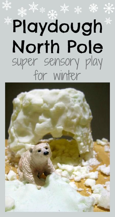 Great ideas for winter sensory play - recipe for homemade snow playdough and lots of extra play ideas