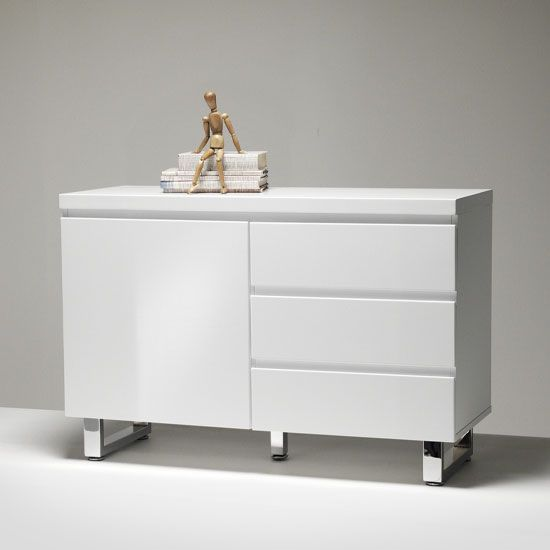 Sydney Small Sideboard In High Gloss White 3 Drawer 1 Door - Sideboards, Modern & Contemporary Buffets, Furnitureinfashion UK