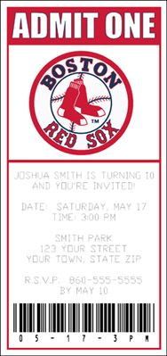 Red sox ticket baby shower invite