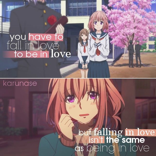 """""""You have to fall in love to be in love, but falling in love isn't the same as being in love.. """"    Anime: Zutto Mae Kara Suki Deshita    © edited by Karunase    karunase.tumblr.com"""