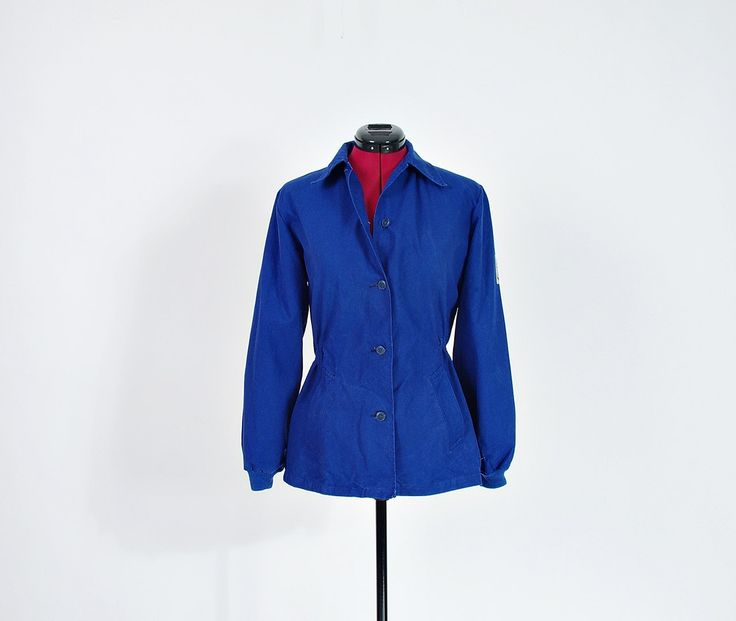 70s Klover Women's Indigo Workwear Canvas Jacket / Size XS-S by Only1Copy on Etsy