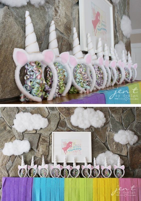 Unicorn Birthday Party Ideas - Rainbow Party Decor and DIY Unicorn Headbands - JenTbyDesign.com: