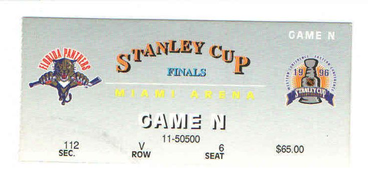1996 FLORIDA PANTHERS STANLEY CUP FINALS NHL HOCKEY TICKET vs AVALANCHE GAME 3