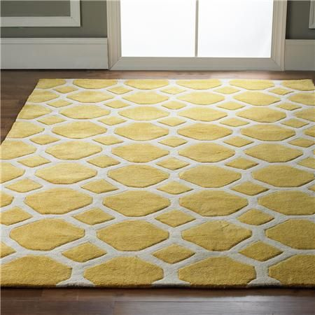 Honeycomb Carved Soft Rug Octagons and golden Yellow, Hand tufted in soft polyester and carved for added dimension and detail. Product SKU: XH13109 0508YE Price: $279.00