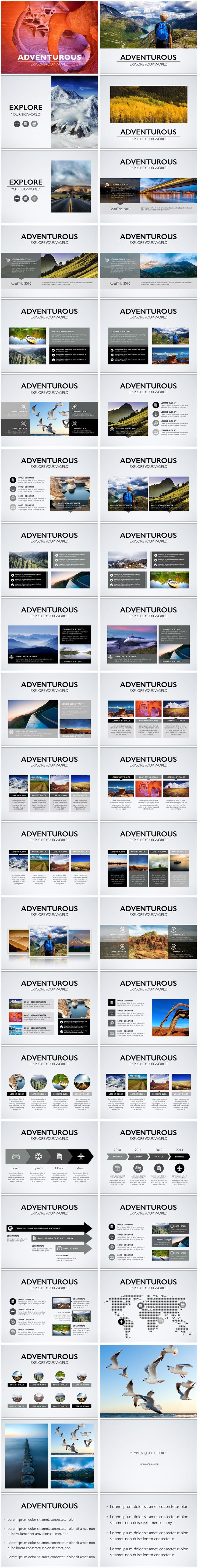 Adventurous Keynote Template - By Deeda Designs. Create an interactive presentation of all your adventures. Professionally designed keynote templates.