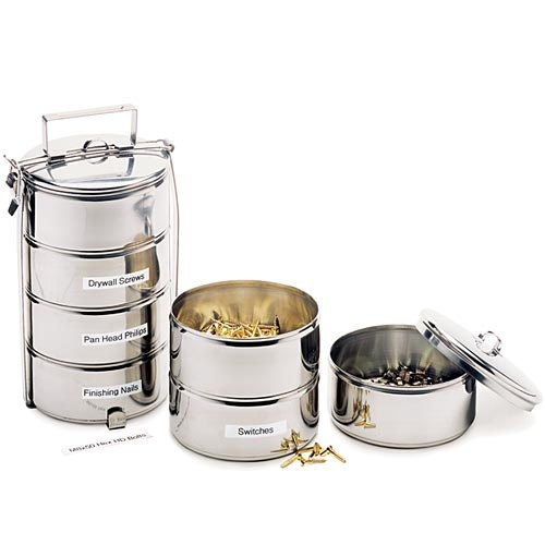 Stainless steel stacking lunch bins. Sometimes called  round bento lunch box  in Japan  sc 1 st  Pinterest & 22 best Dabbawalla Tiffin images on Pinterest | Lunch boxes ... Aboutintivar.Com