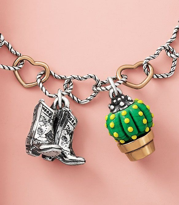 7758c37c5fd Cowboy Boots Charm and Barrel Cactus Art Glass Charm shown on a ...