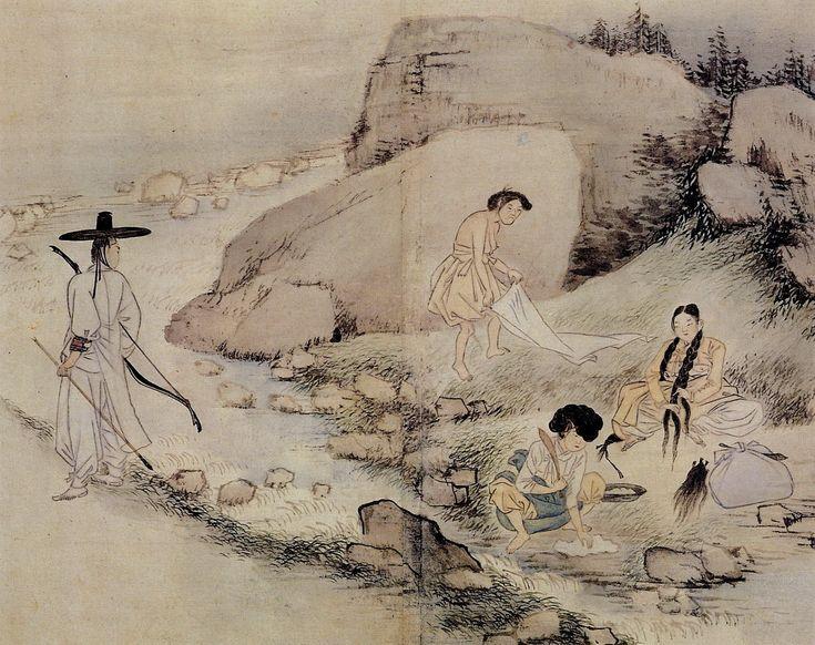 그 시간 혜주와 윤지, 수빈이는 강가에서 빨래를 하고 있었습니다. 그 때 사냥을 하는 척하며 빨래터를 구경하던 철수가 윤지와 눈이 마주쳤습니다. (신윤복, 빨래터)