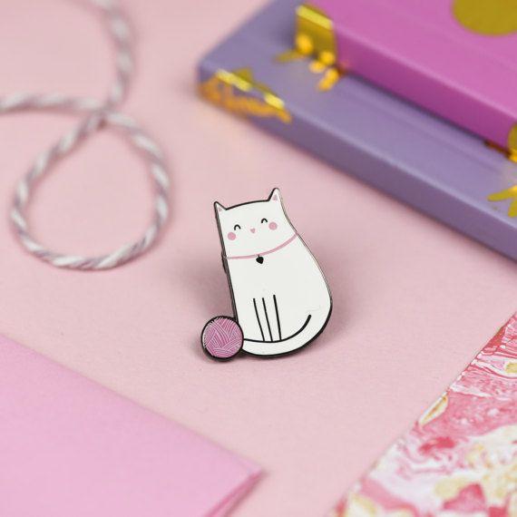 Cute Cat Enamel Lapel Pin - Nutmeg and Arlo