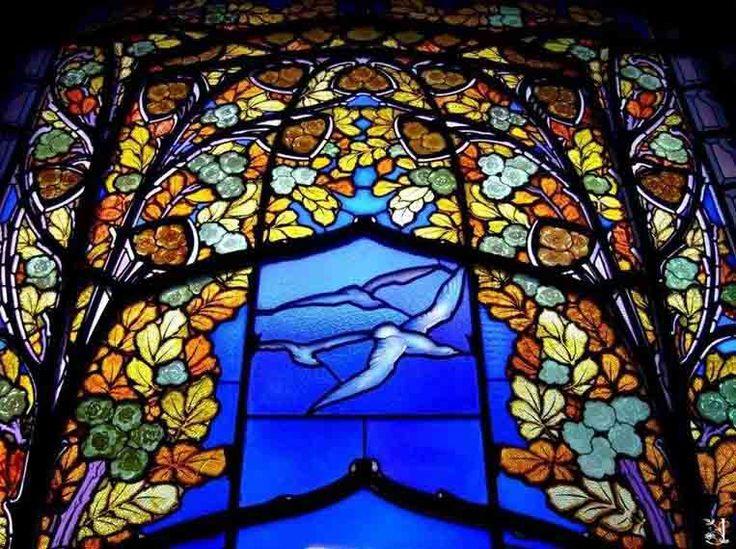 Art Nouveau - Villa Bergeret - Nancy - 1901 - Intérieurs - Vitrail 'Roses et Mouettes' - Jacques Gruber