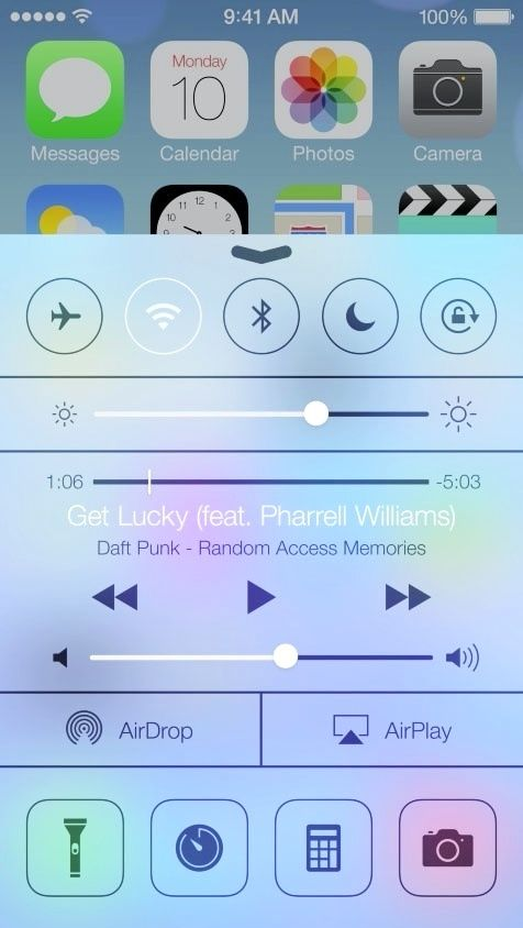 iOS 7 Control center- swipe up from bottom to access. September 10 is the rumored release date!!